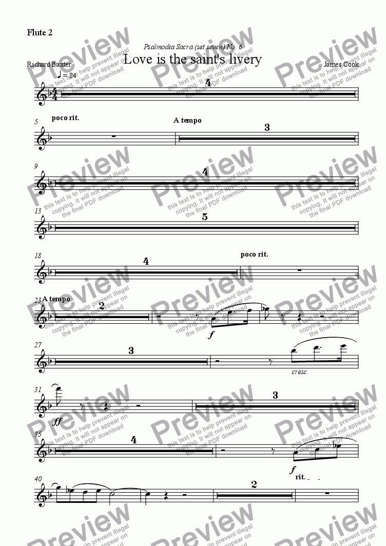 page one of the Flute 2 part from Love is the saint's livery