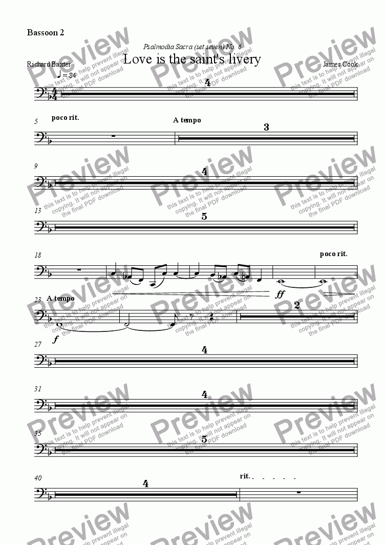 page one of the Bassoon 2 part from Love is the saint's livery