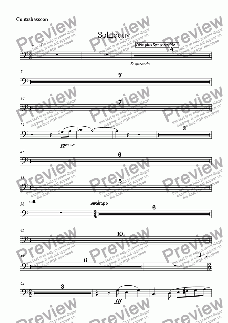 page one of the Contrabassoon part from Soliloquy