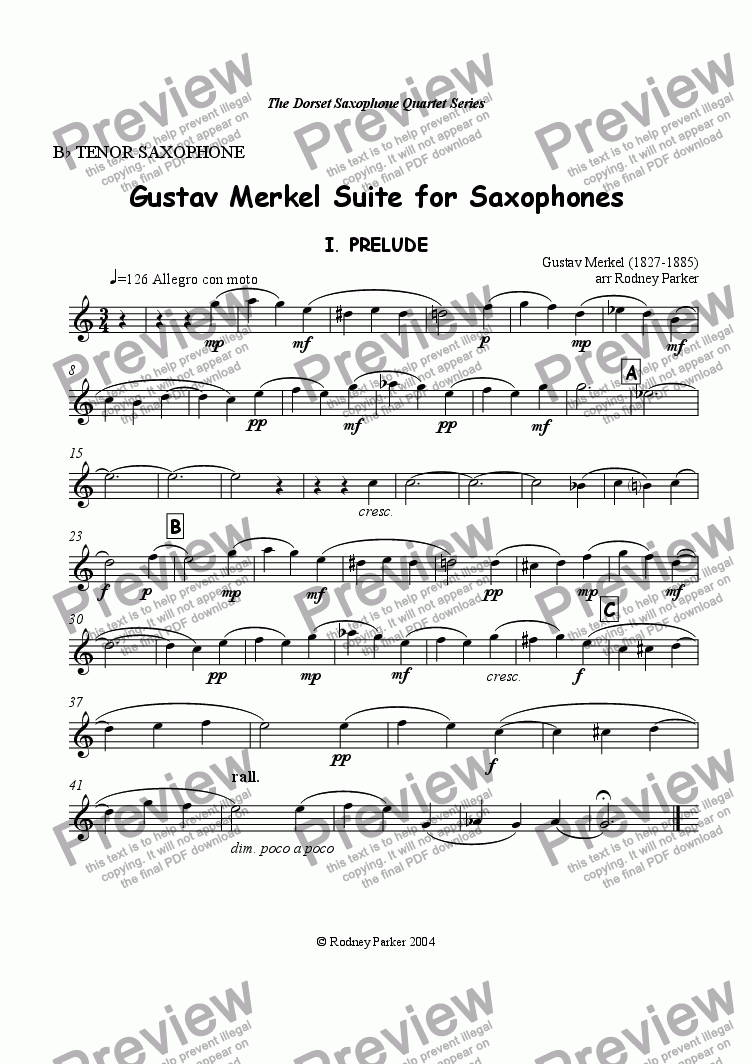 page one of the Tenor Sax part from Gustav Merkel Suite for Saxophones