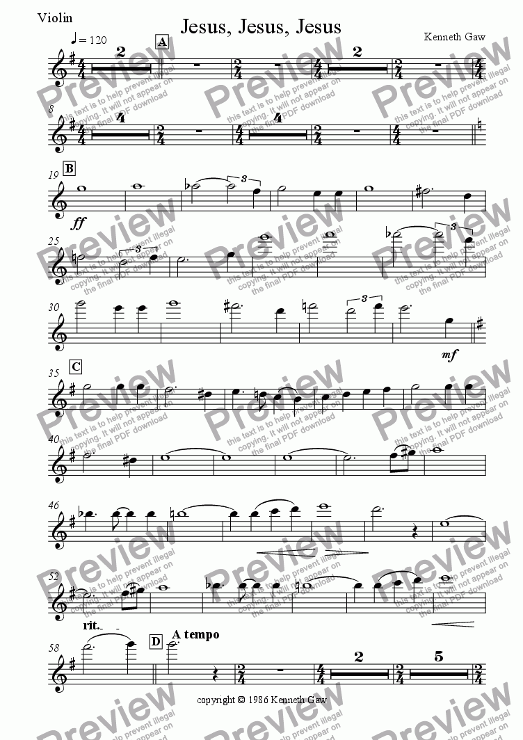page one of the Violin part from Jesus, Jesus, Jesus