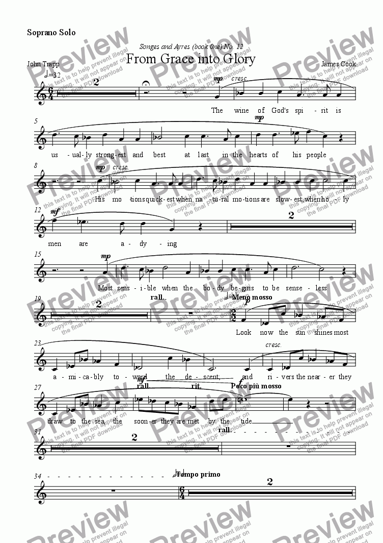 page one of the Soprano Solo part from From Grace into Glory