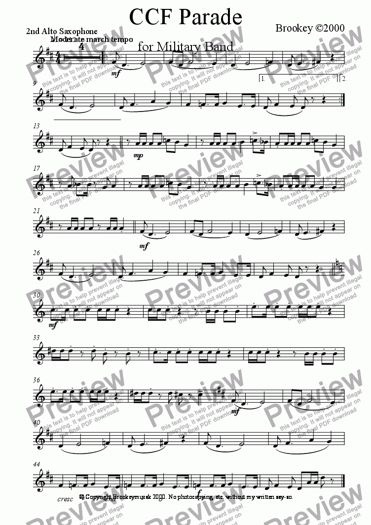 page one of the Alto Saxophone 2 part from CCF March (Wind Band)
