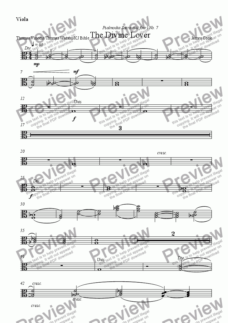 page one of the Viola part from The Divine Lover