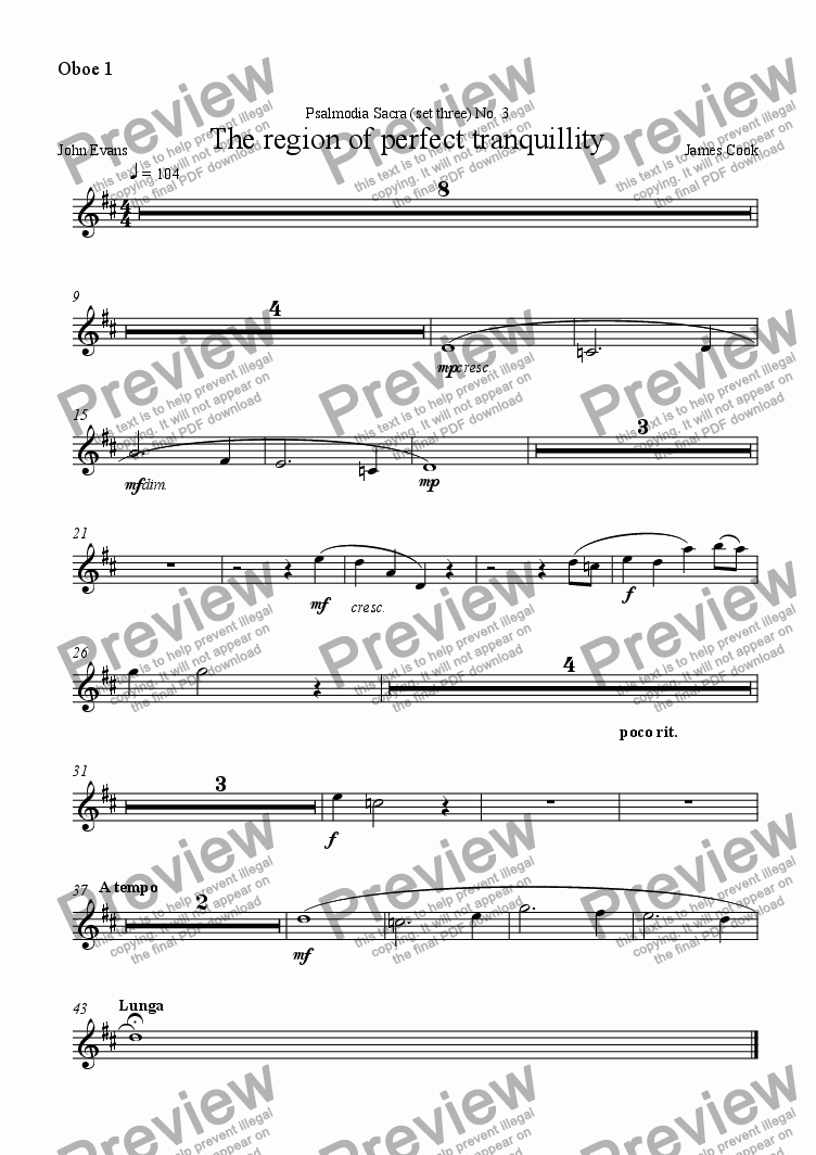 page one of the Oboe 1 part from The region of perfect tranquillity