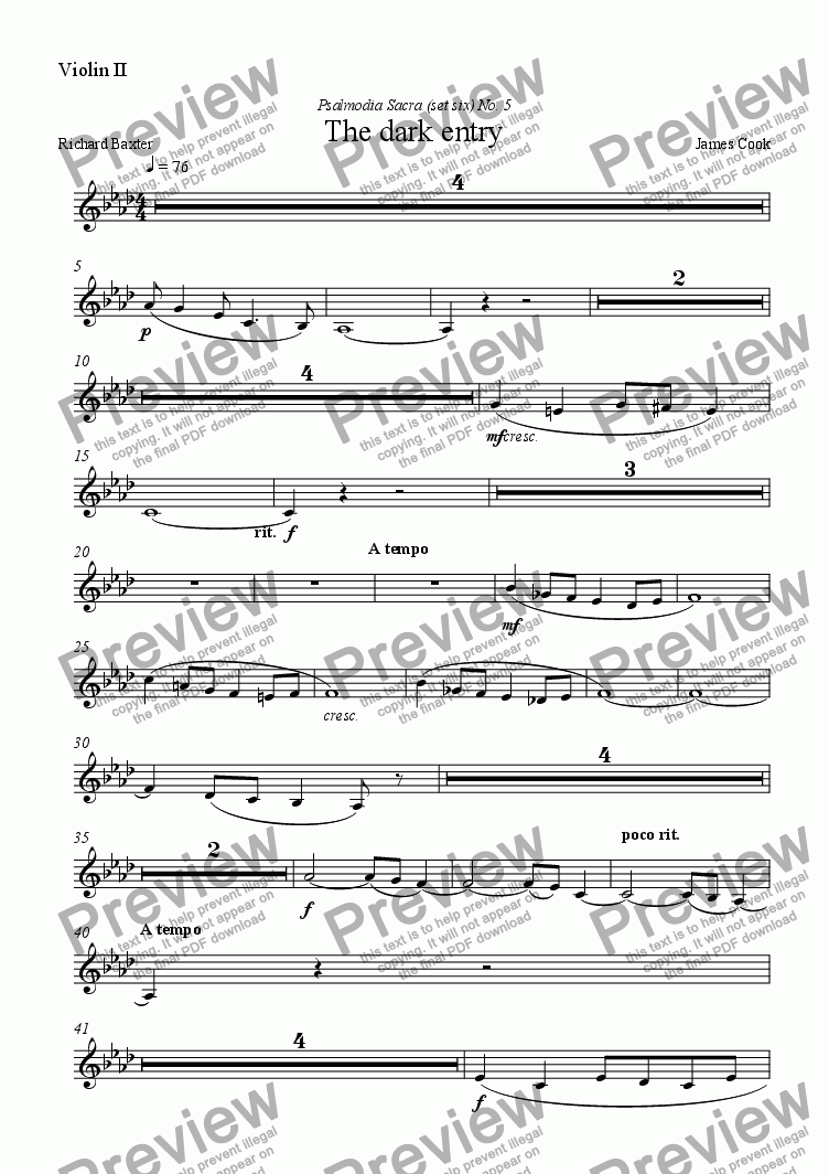 page one of the Violin II part from The dark entry