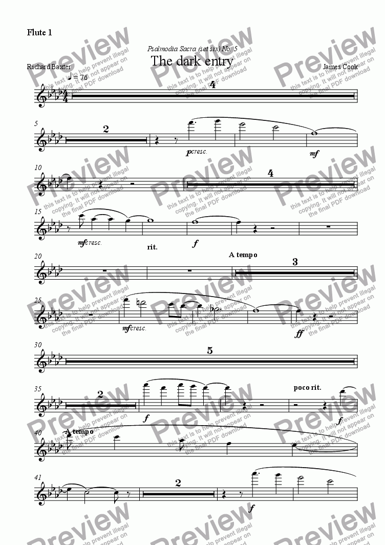 page one of the Flute 1 part from The dark entry