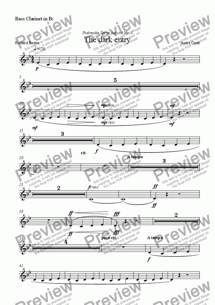 page one of the Bass Clarinet in B^b part from The dark entry