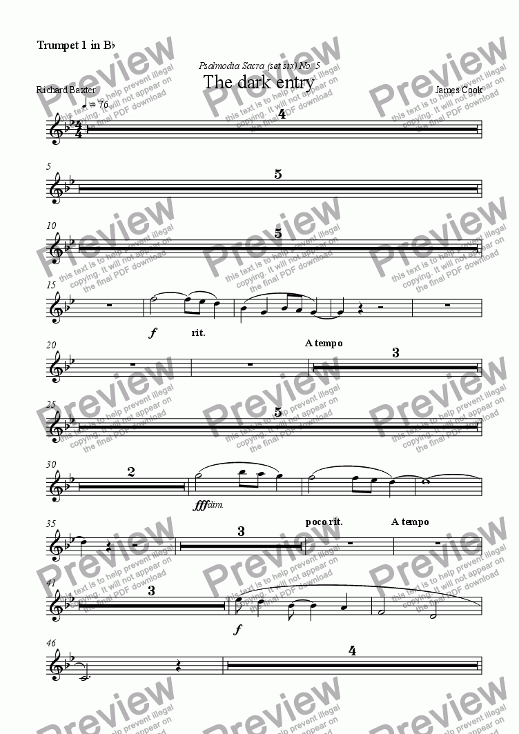 page one of the Trumpet 1 in B^b part from The dark entry
