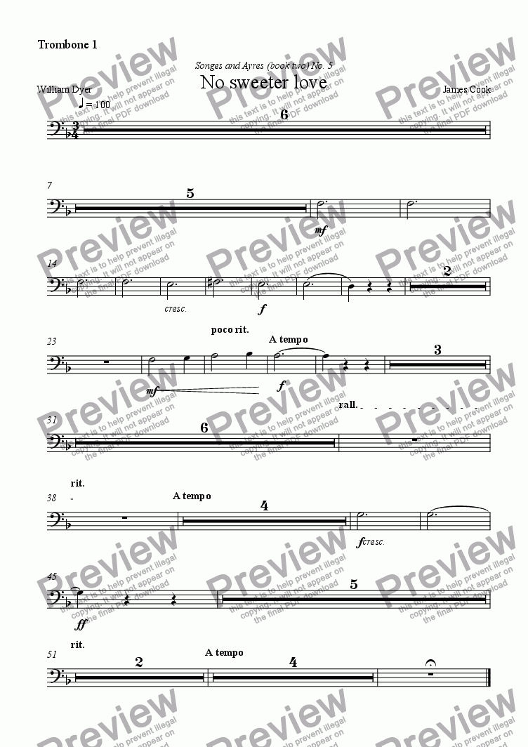 page one of the Trombone 1 part from No sweeter love