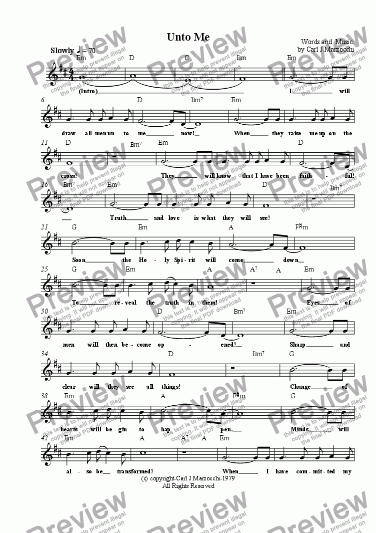 page one of the Guitar/Vocal Lead Sheet part from Unto Me