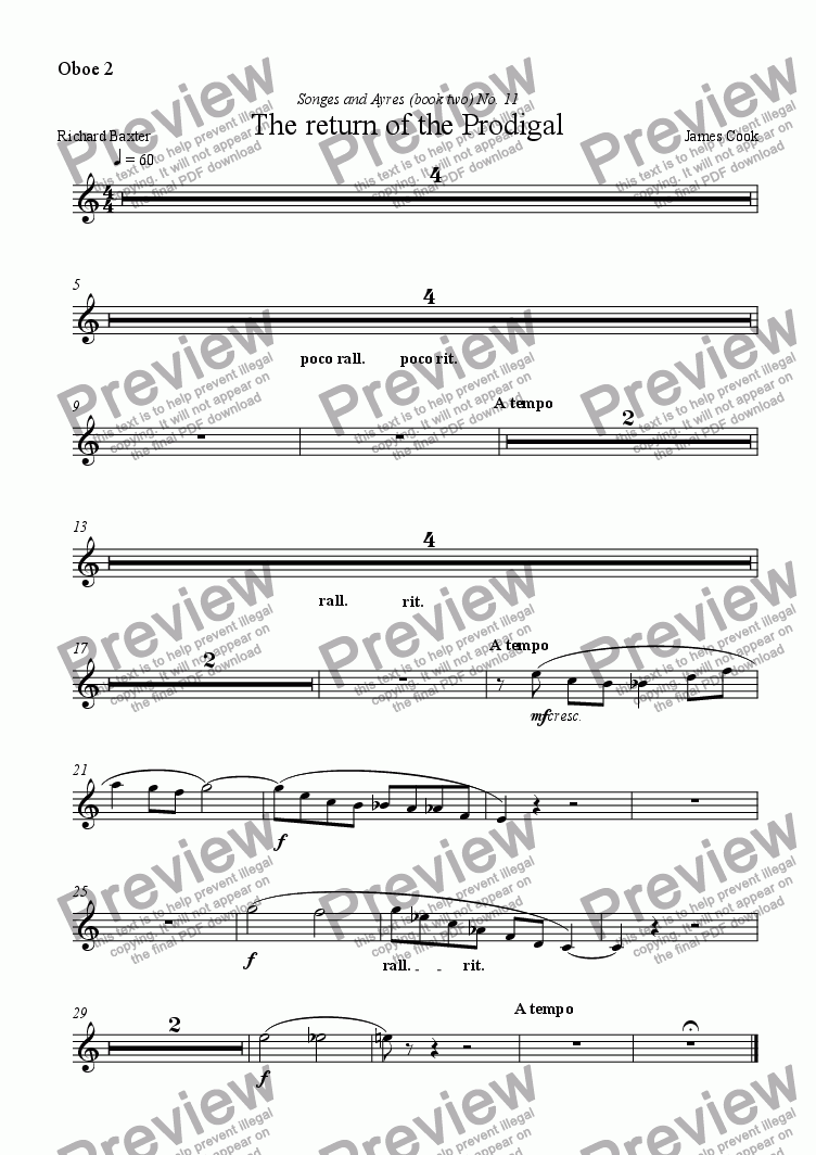 page one of the Oboe 2 part from The return of the Prodigal