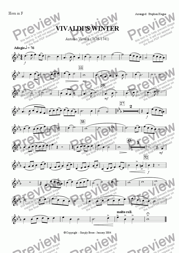 page one of the Horn in F part from The Four Seasons - Winter (Brass Quintet)