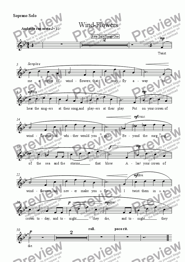 page one of the Soprano Solo part from Wind-Flowers
