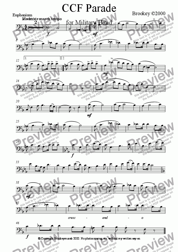 page one of the Euphonium (B.C.) part from CCF March (Wind Band)
