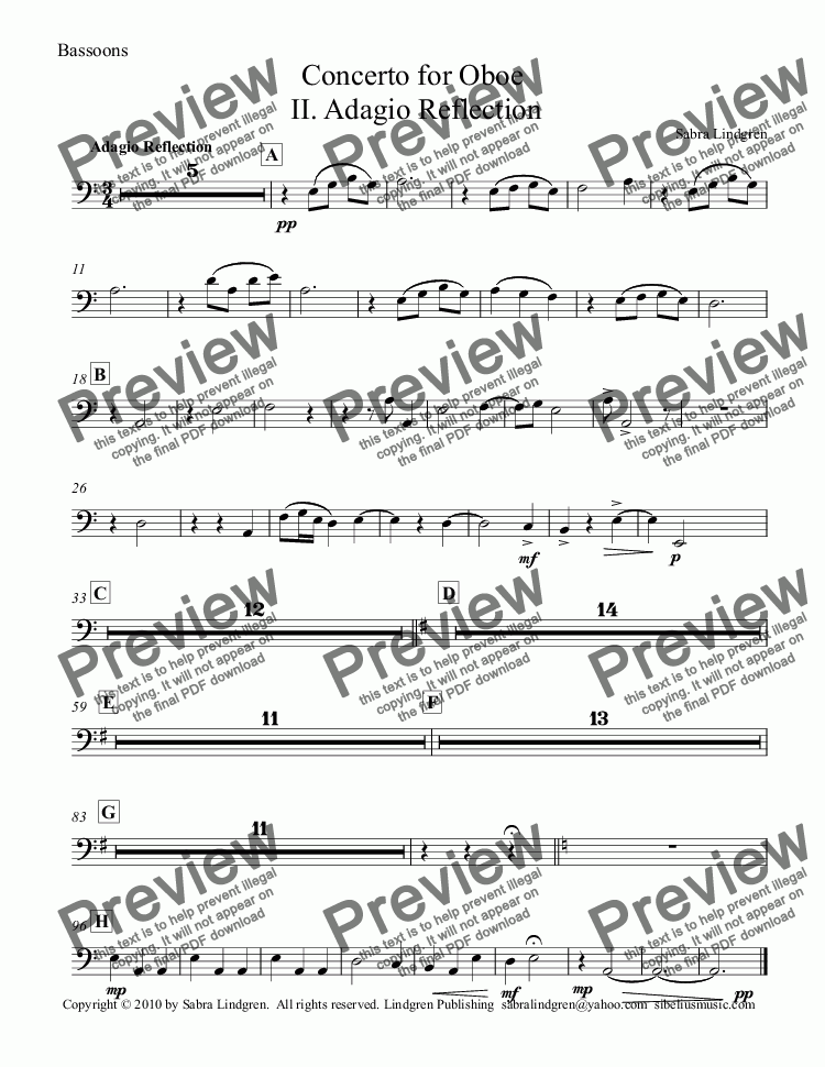 page one of the Bassoons part from Concerto for Oboe, II. Adagio Reflection, for Solo Oboe and Orchestra