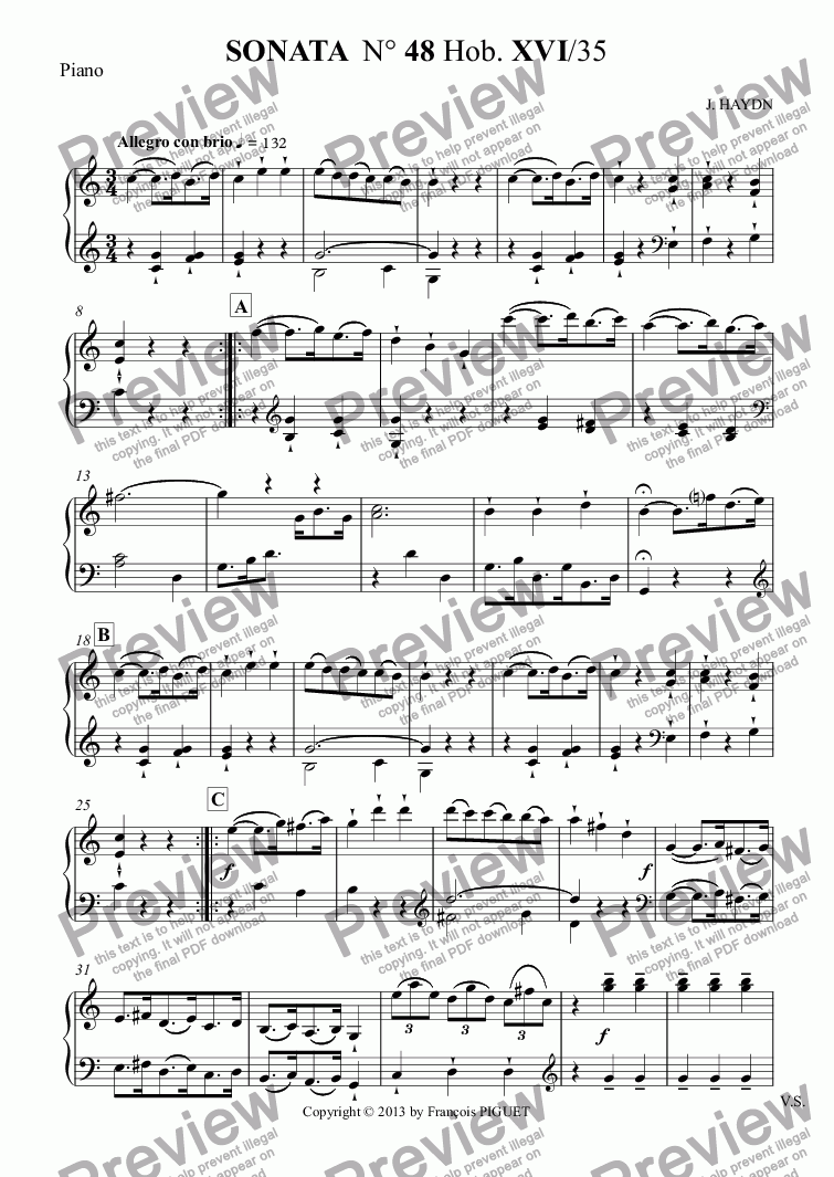 page one of the Piano part from SONATA  N° 48 Hob. XVI/35 for Violin and Piano by J. HAYDN