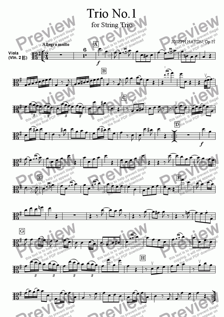 page one of the Viola part from Trio No.1