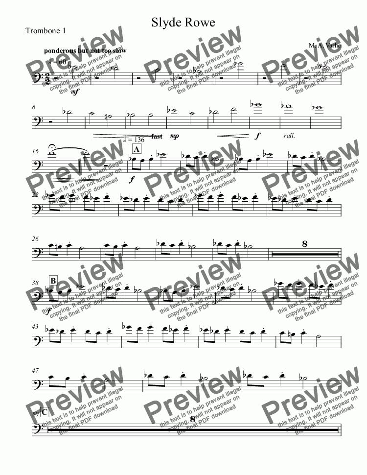 page one of the Trombone 1 part from Slyde Rowe