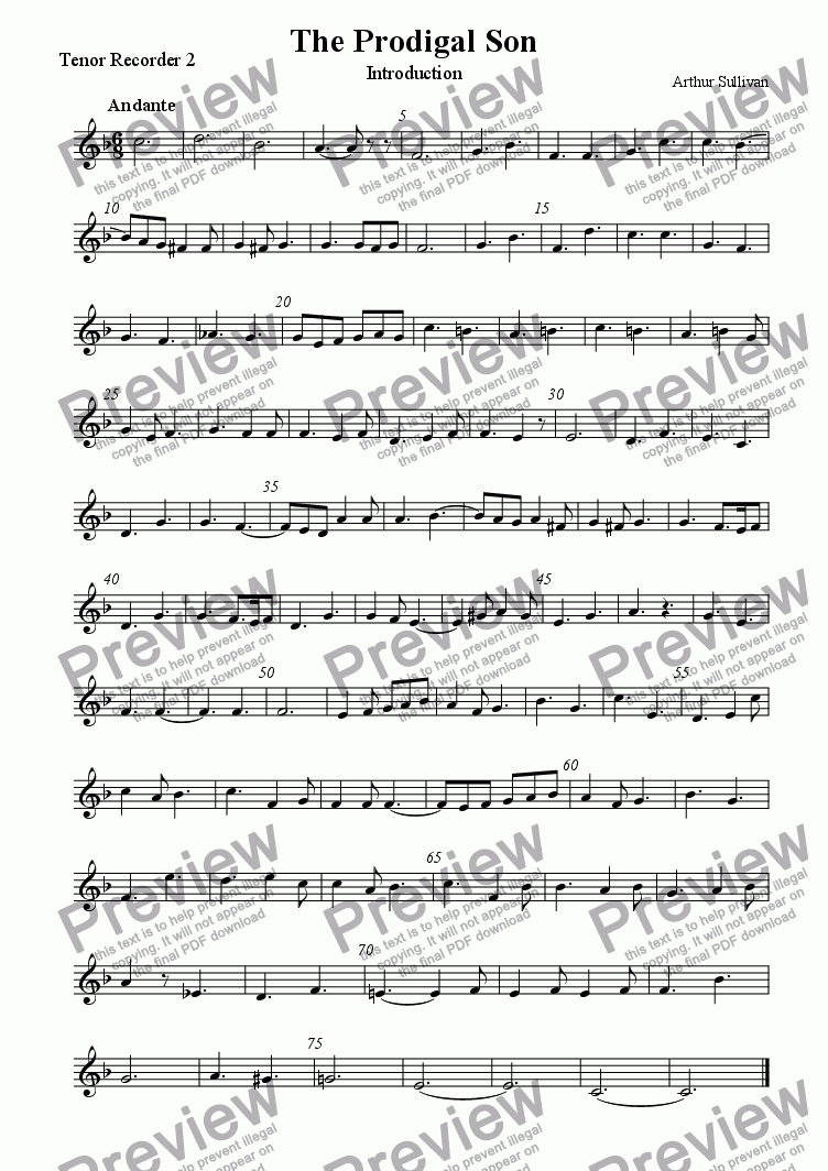 page one of the Tenor recorder 2 part from Introduction to 'The Prodigal Son'