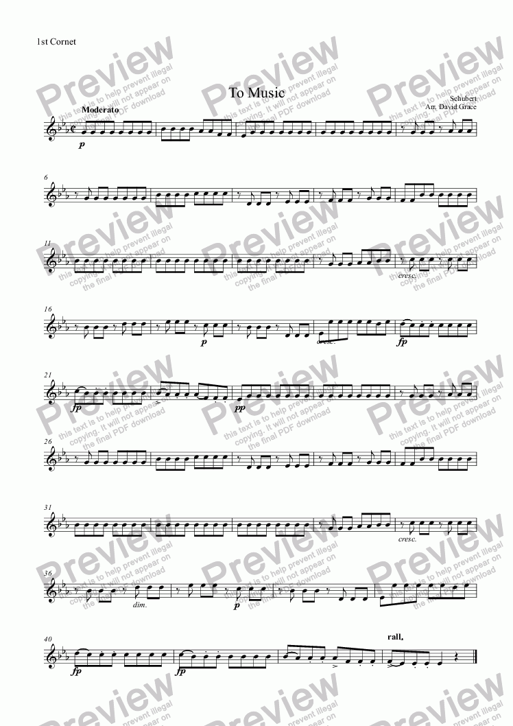 page one of the 1st Cornet part from To Music[Schubert] [Solo Cornet and Band]