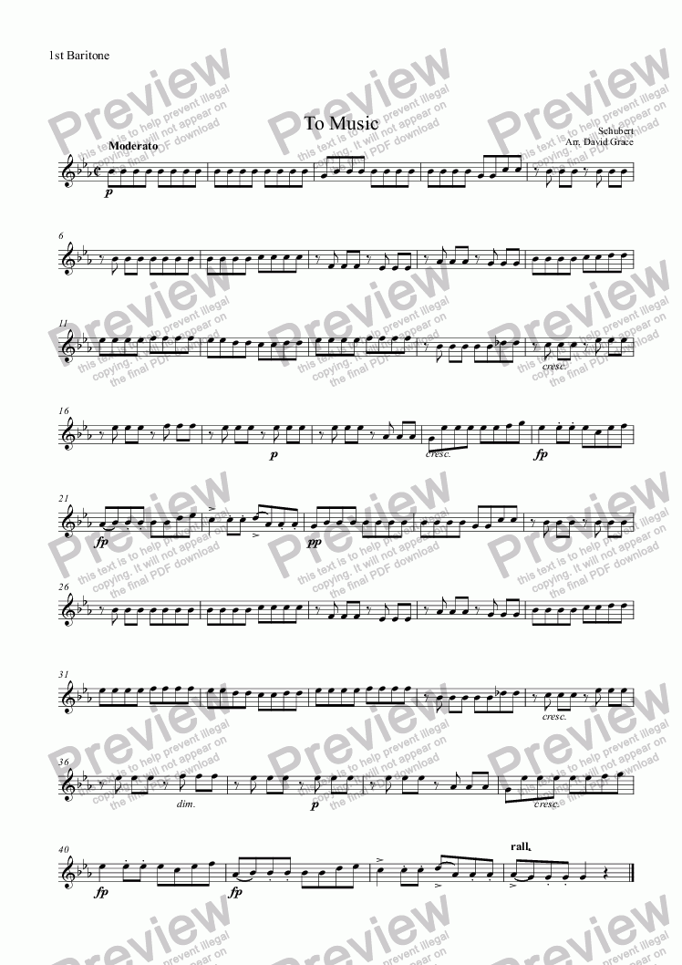 page one of the 1st Baritone part from To Music[Schubert] [Solo Cornet and Band]