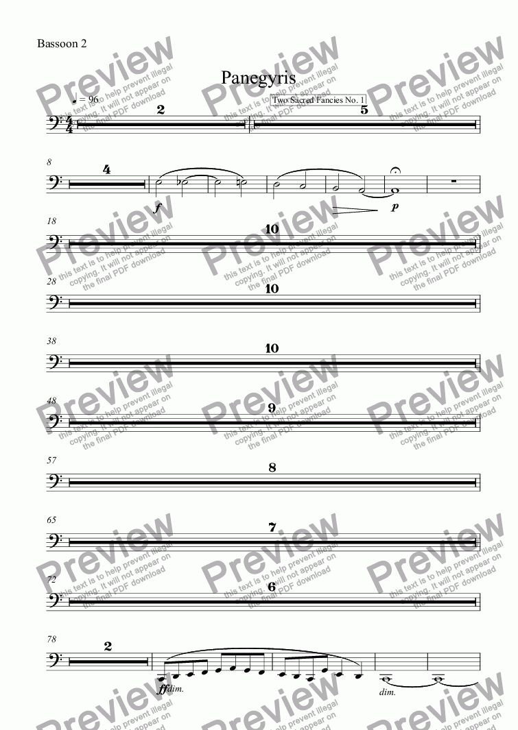 page one of the Bassoon 2 part from Panegyris