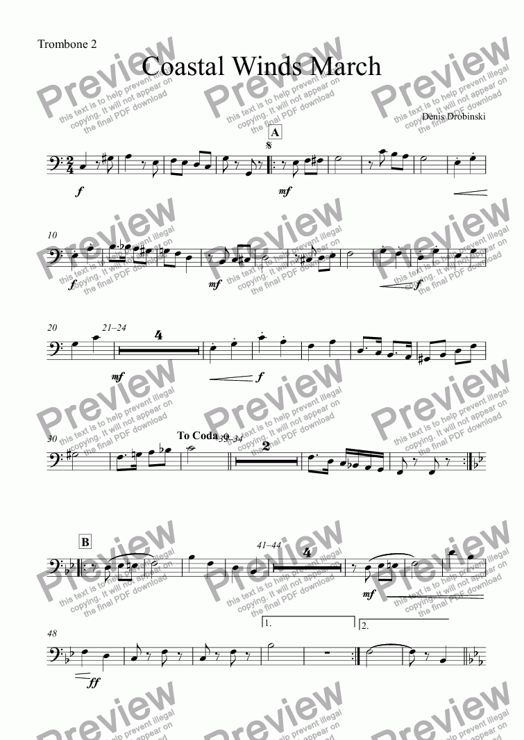 page one of the Trombone 2 part from Coastal Winds March