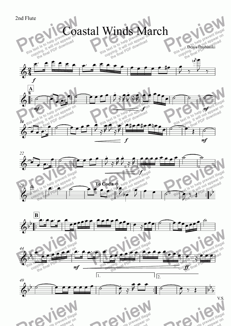 page one of the 2nd Flute part from Coastal Winds March