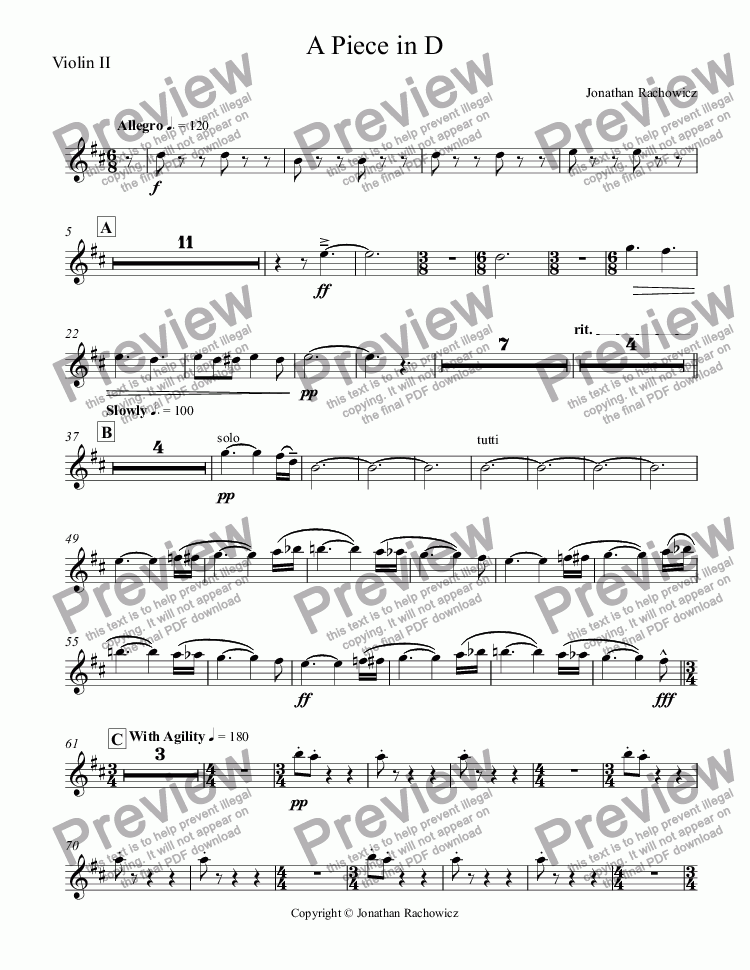 page one of the Violin II part from A Piece in D