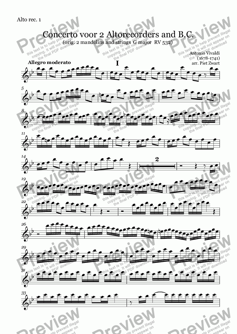 page one of the Alto rec. 1 part from Concerto for 2 Altorec. and B.C. RV 532 (Vivaldi)