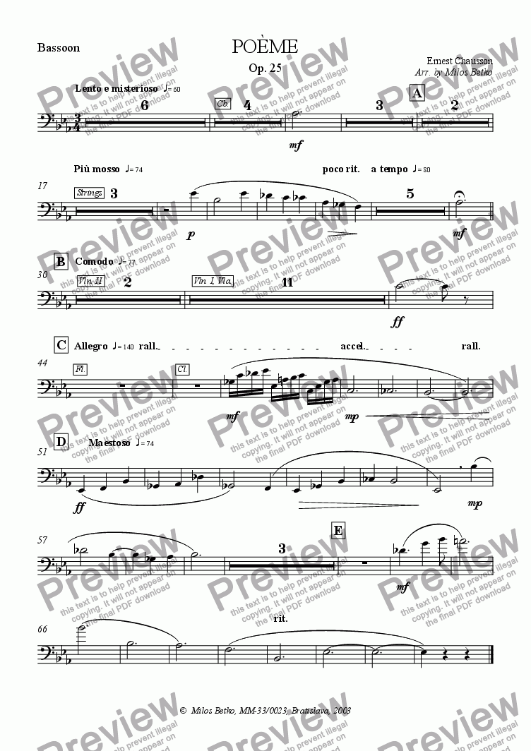 page one of the Bassoon part from Poeme for Violin and Orchestra, Op. 25