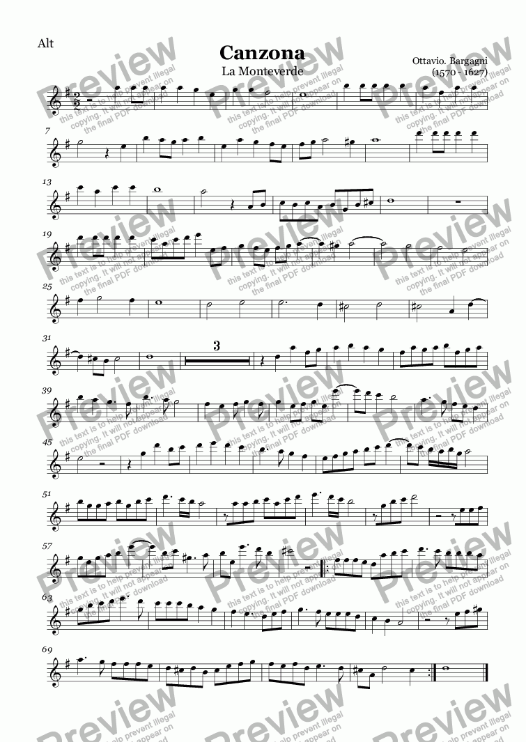 page one of the Alto recorder part from Canzona La Monteverde (Bargagni)