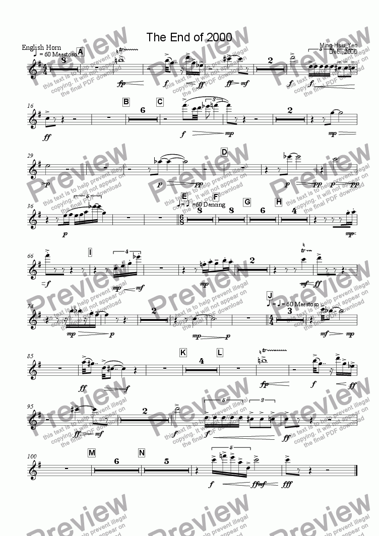 page one of the English Horn part from The End of 2000