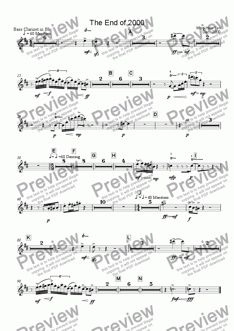 page one of the Bass Clarinet in Bb part from The End of 2000
