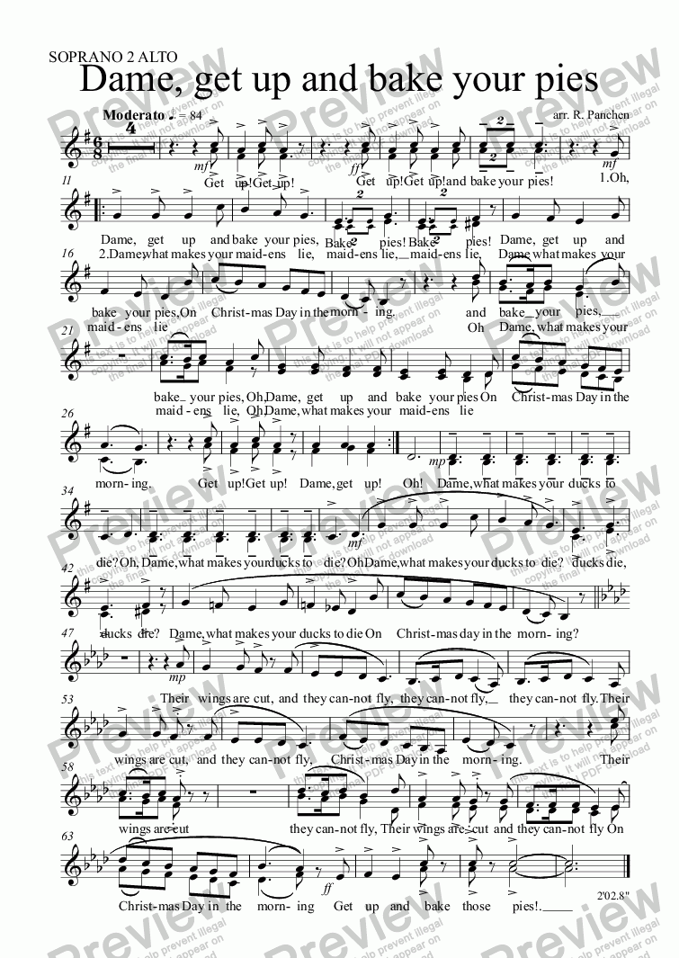 page one of the SOPRANO 2 ALTO part from Dame, get up and bake your pies