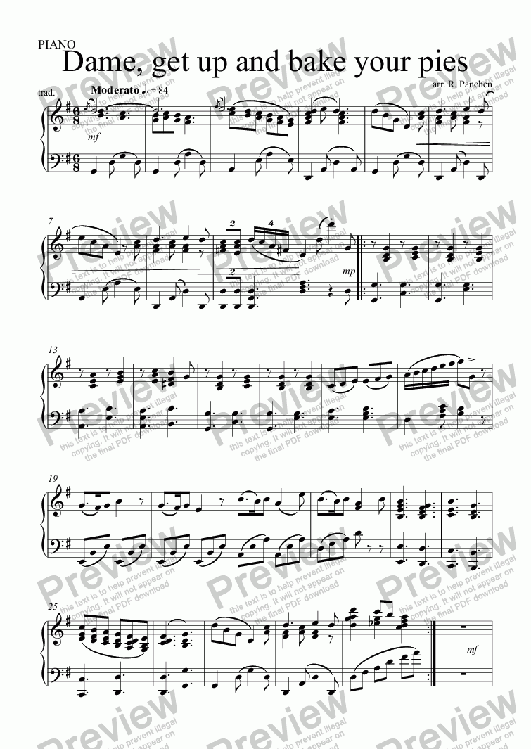 page one of the PIANO part from Dame, get up and bake your pies