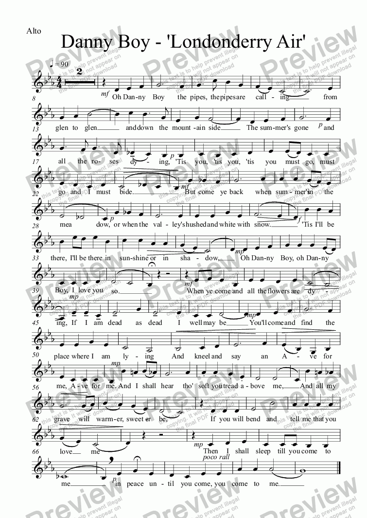 page one of the Alto part from Danny Boy - 'Londonderry Air'