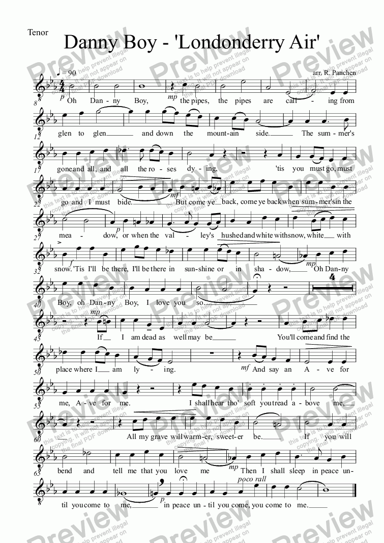 page one of the Tenor part from Danny Boy - 'Londonderry Air'