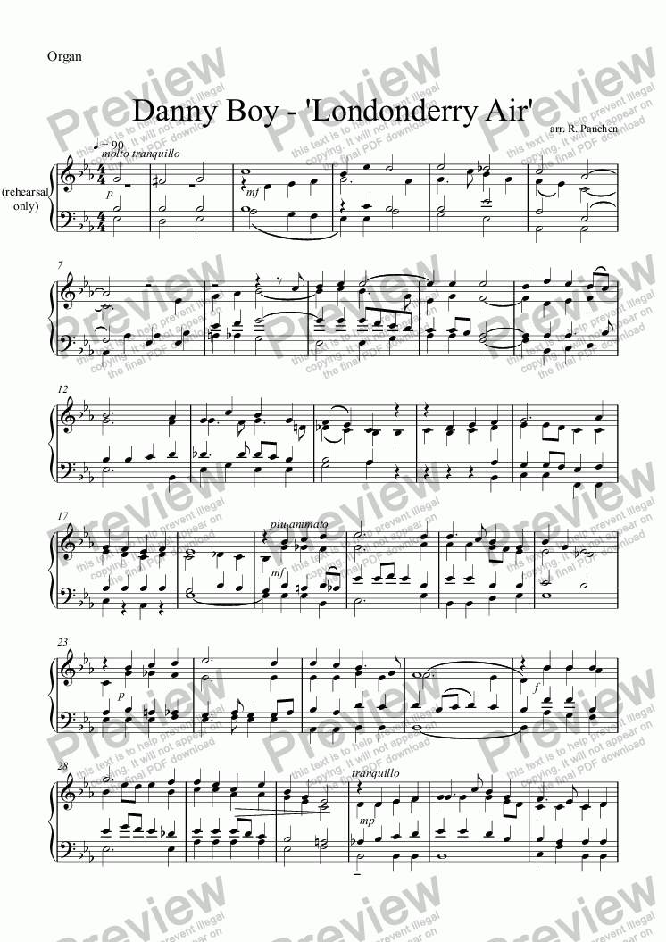 page one of the Organ part from Danny Boy - 'Londonderry Air'