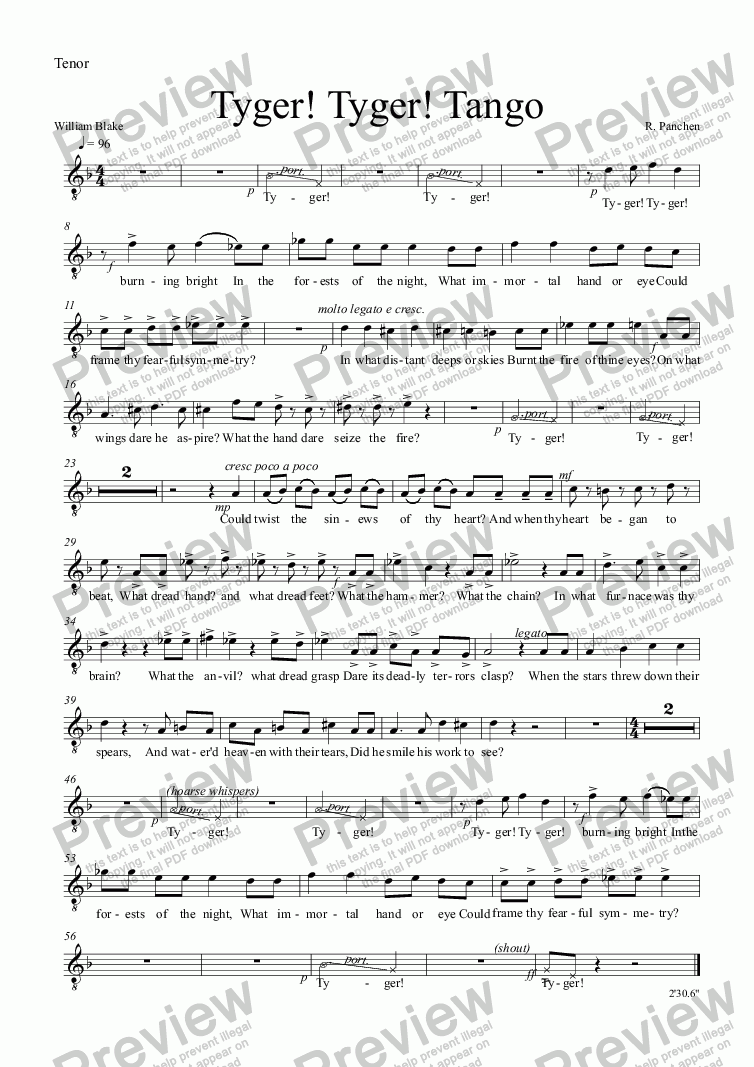 page one of the Tenor part from Tyger! Tyger! Tango