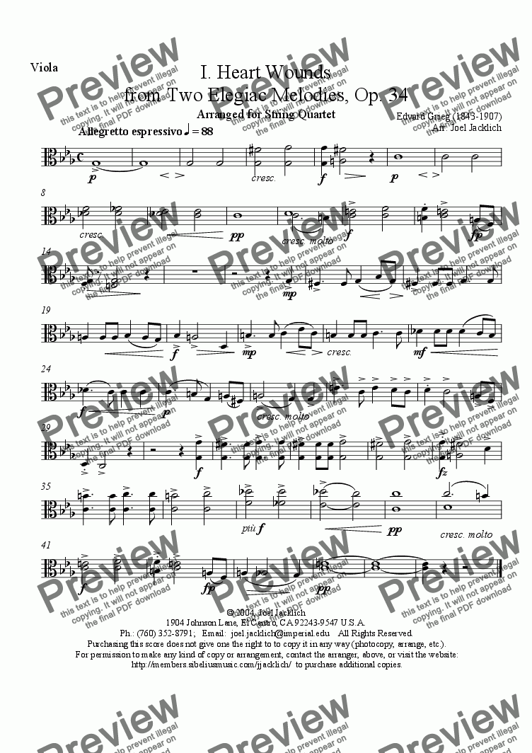 page one of the Viola part from Two Elegiac Melodies, Op. 34, No. 1, Heart Wounds