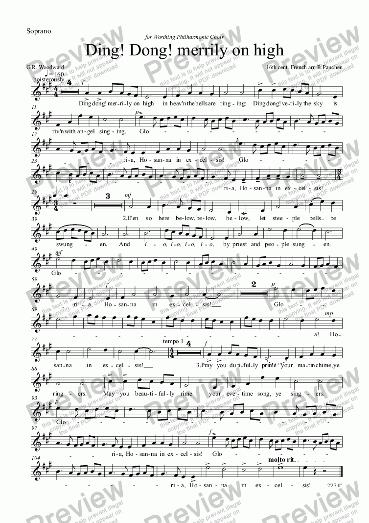 page one of the Soprano part from Ding! Dong! merrily on high