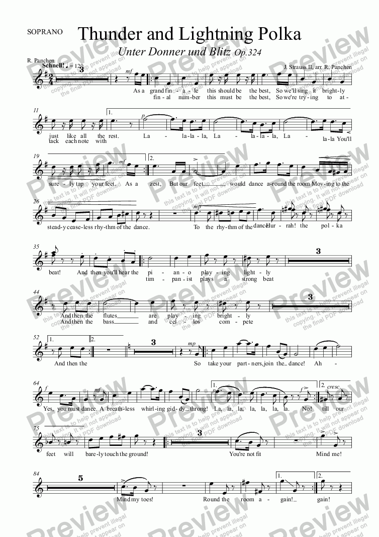page one of the SOPRANO part from Thunder and Lightning Polka,  RV324