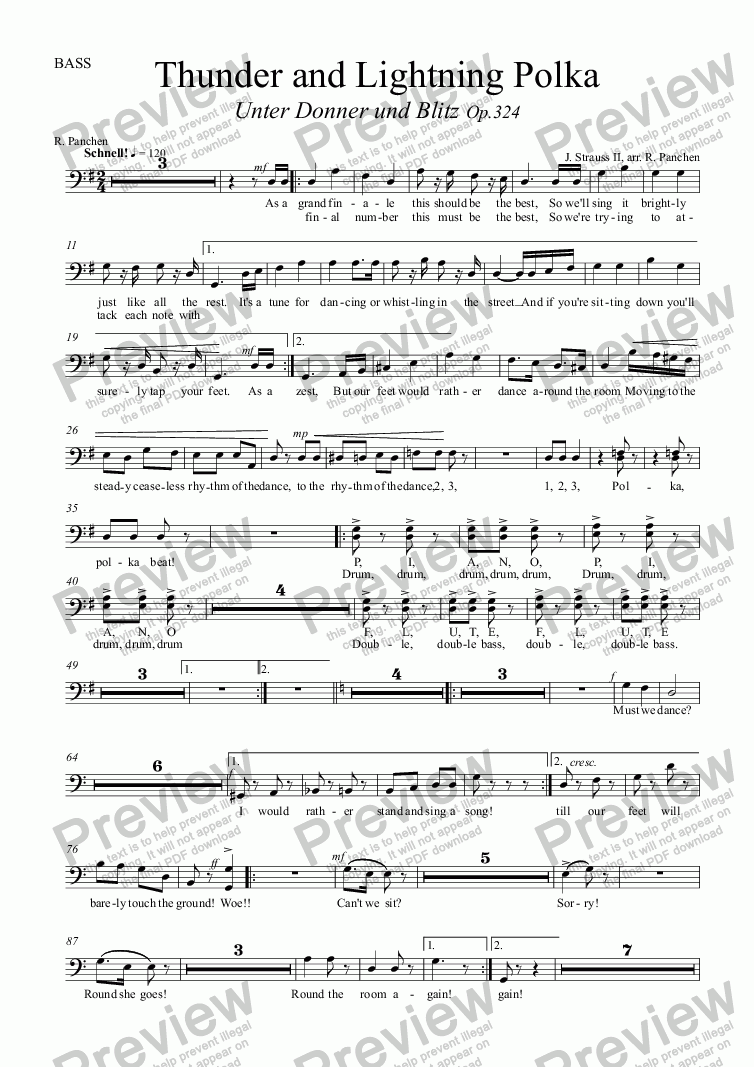 page one of the BASS part from Thunder and Lightning Polka,  RV324