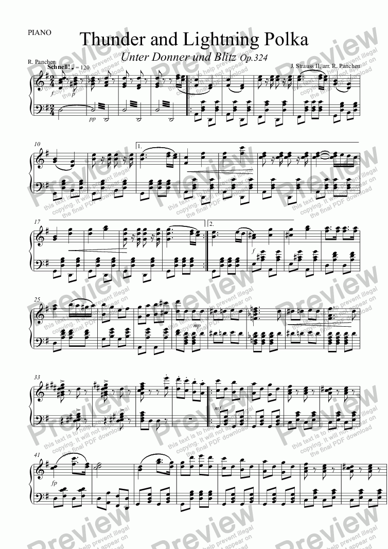 page one of the PIANO part from Thunder and Lightning Polka,  RV324