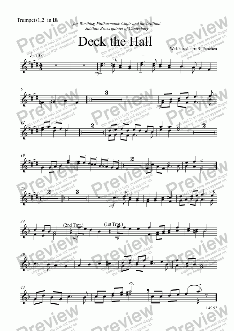 page one of the Trumpets1,2  in B^b part from Deck the Hall (Choir & Audience)