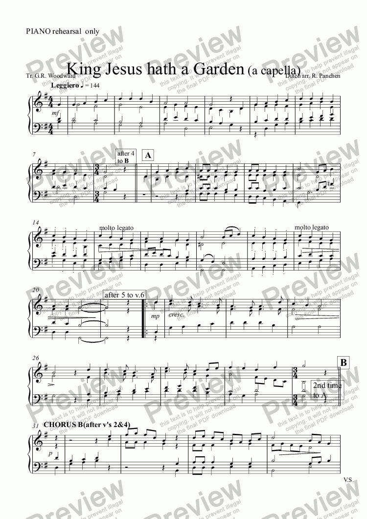 page one of the PIANO rehearsal  only part from King Jesus hath a Garden (a capella)