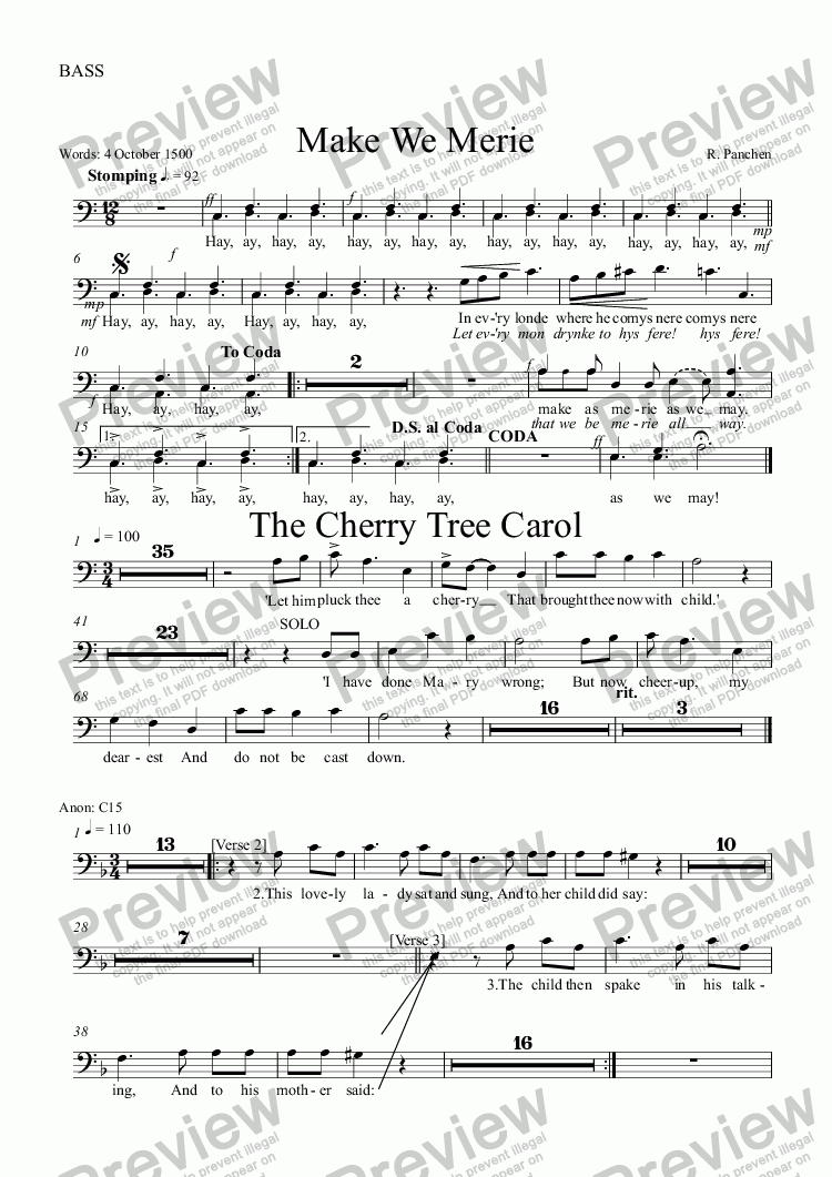 page one of the BASS part from Make we Merie