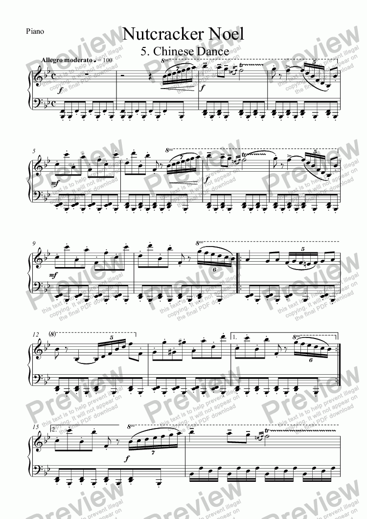 page one of the Piano part from Nutcracker Noel: 5. Chinese Dance